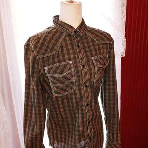 BKE Vintage Western Snap Button Shirt M